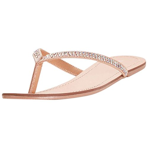 David's Bridal Classic Flip Flops with Iridescent Stones Style Valentina, Champagne, 10 by David's Bridal