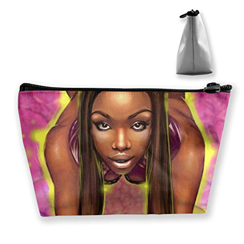 Fashion Makeup Cosmetic Case Clutch Bag, Afro Lady African American Black Women Girls Art Cosmetic Train Case Organizer Large Capacity Carry On Bag, Luggage Pouch, Makeup Pouch] for Women Girls
