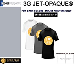 """3G Jet Opaque Heat Transfer Paper 8.5"""" x 11"""" (10 sheets)3G JET-OPAQUE HEAT TRANSFER PAPER Product #9838P0 Designed for transferring inkjet images to dark or other colored garments and substrates. This product contains and opaque layer allowin..."""