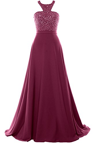 Dress Chiffon Party MACloth Halter Gown Evening Weinrot Beading Long Prom 2018 Formal gqSYxEwx