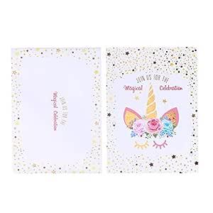 Tarjeta de invitación de cumpleaños de unicornio Toyvian, 24 ...