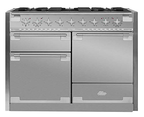 Aga Dual Fuel Range - AGA AEL48DF-SS Elise Series 48 Inch Wide 6 Cu. Ft. Slide In Dual Fuel Range with Glide Out Broiler System