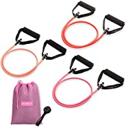 Peach Bands Resistance Tube Bands Set - Long Exercise Bands with Handles, Door Anchor and E-Book Workout Guide