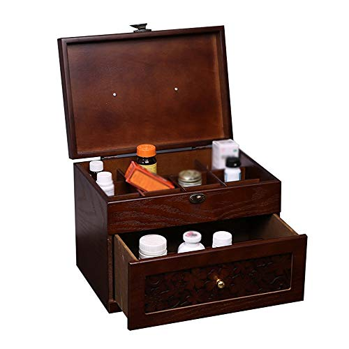 Ping Bu Qing Yun Medical box - ash wood MDF wood grain material, portable portable wooden double-layer large capacity multi-function moisture-proof dustproof, household medicine box wooden suitcase ch