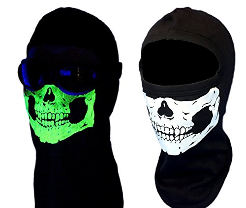 American Made Adult Glow In The Dark Skull Face Ghost Mask Black Ski Hood Large 100% Cotton Black Balaclava -