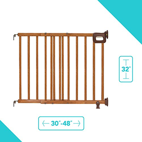 415Zqh3q8TL - Summer Deluxe Stairway Simple To Secure Wood Gate, 30-48 Inch Wide