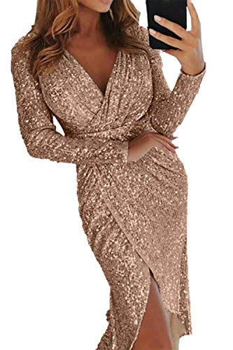 (Formal Dress Womens Sequins Long Sleeve Midi Slit Dress Wrap Ruched Party Dress Champagne)