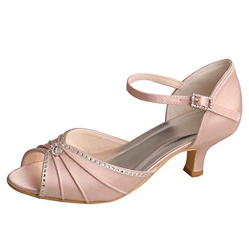 Wedopus MW033B Women's Peep Toe Mary Jane Low Heel Pleated Rhinestones Satin Wedding Prom Shoes Size 7 Blush ()