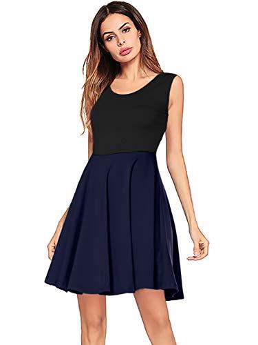 Amoretu Women Summer Short Empire Waist Sleeveless Tank Skater Dress (Navy Blue, L) ()