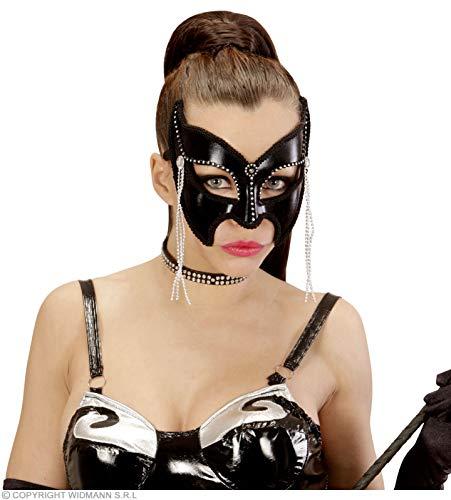 Widmann 03627?Masque Domino Grand Gala sadomaso avec Strass et Perles, Taille Unique