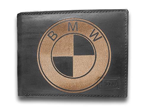 BMW Genuine Cowhide Leather Laser Engraved Engraving Slimfold Mens Black Large Capacity Luxury Wallet Purse Minimalist Sleek and Slim Black Credit Card Holder Organizer 14 Pockets ()