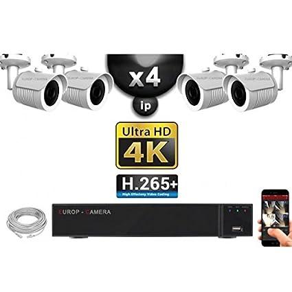 Kit de video vigilancia PRO IP 4 x Cámaras PoE tubos IR 30 m Sensor Sony