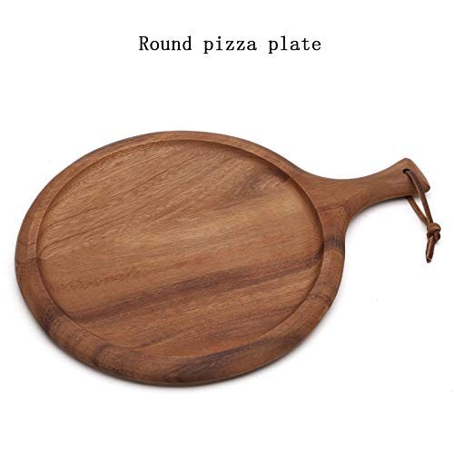 CYNDI ZHANG Natural Acacia Wood Lacquered Wax-Free Solid Wood Home Pizza Plate Tray Wood chop Board (Round Pizza Plate)
