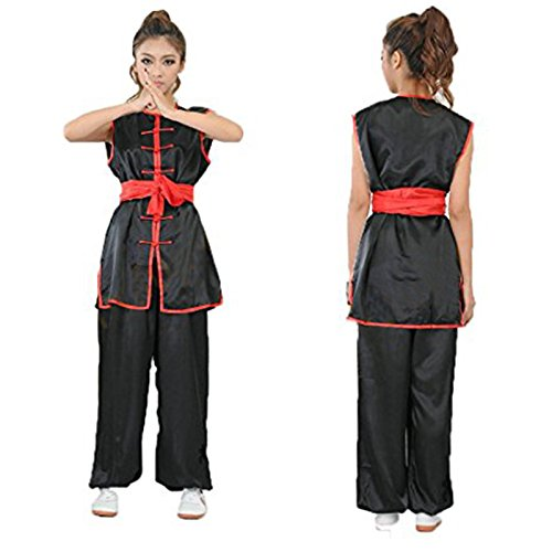 ZooBoo Unisex Kdis Chinese Traditional Wushu Martial Arts Uniform (Black, XL)