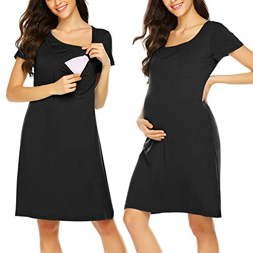 Hotouch Womens Maternity Dress Cotton Solid Nursing Nightwear Gown Black S