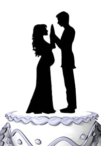 pregnant wedding cake toppers meijiafei and groom silhouette 18719