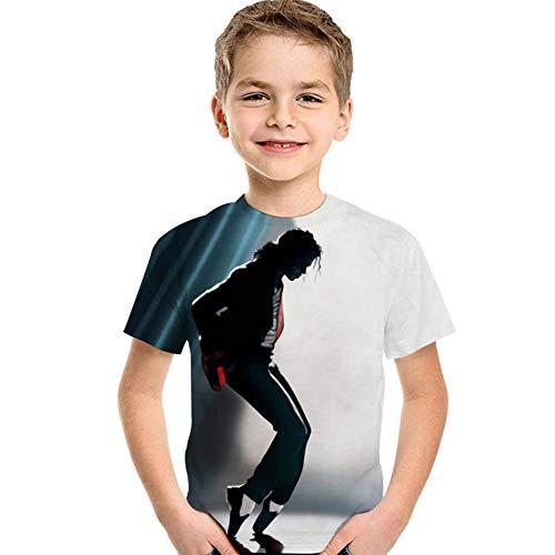 Tsyllyp Unisex Kids Michael Jackson 3D Print T Shirt Short Sleeve DJ Tee Shirts -
