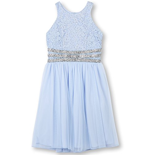 Speechless Girls' Big' High Neck Party Dress with Sparkle Waist, Periwinkle, 7