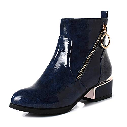 bluee 6.5-7 US bluee 6.5-7 US Women's Fashion Boots Patent Leather Fall & Winter Boots Chunky Heel Round Toe Booties Ankle Boots Black bluee   Burgundy