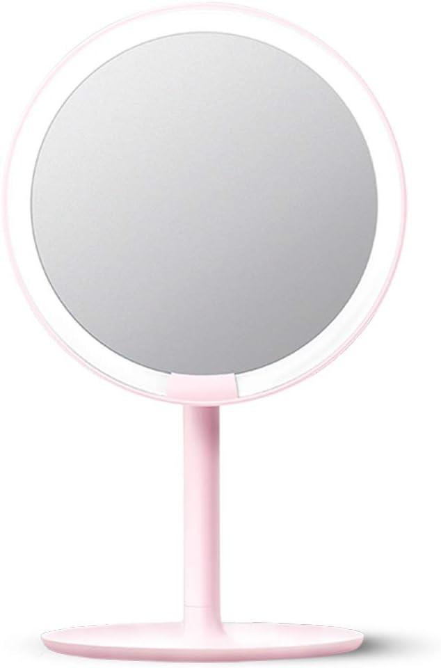 ミラー 鏡 化粧鏡 高精度の卓上照明付きFill Lightドミトリールーム ZHANGAIZHEN (色 : Pink)
