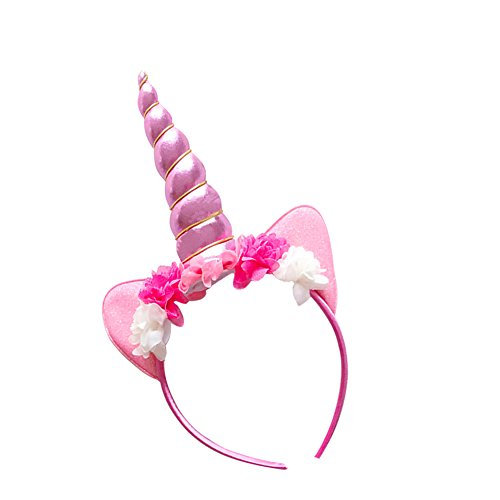 Unicorn Headband Unicorn Horn Ears Flowers Headbands Unicorn Birthday Party Headwear