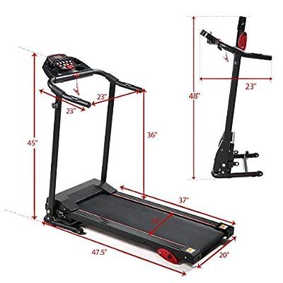 2.0HP Folding Treadmill Gym/Home Fitness Exercise Machine w/Safe Key LCD Display, IPad Holder Black