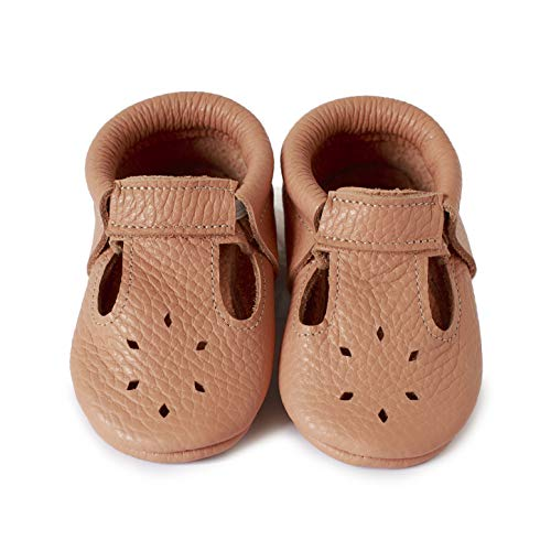 LittleBeMocs T-Strap Baby Moccasins (Italian Leather) Soft Sole Shoes for Boys and Girls | Infants, Babies, Toddlers (1.5, Salmon) (Girls Moccasins For)