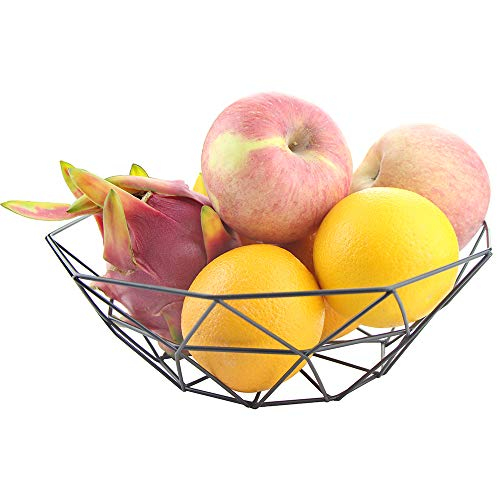 Jugaogao Creative Fruit Dish Bowl Basket Container Centerpiece Bowl for Living Room and Modern Kitchen Table - Paint Black