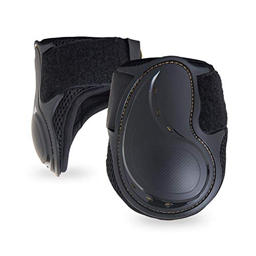 Kavallerie Classic Fetlock Boots, Impact-Absorbing and Air-Perforated Material, Durable & Evenly Distributes Pressure, Fetlock Injury Protection, Non- Slip with Soft Lining Show Jumping Boots Black - Hind Horse Boots