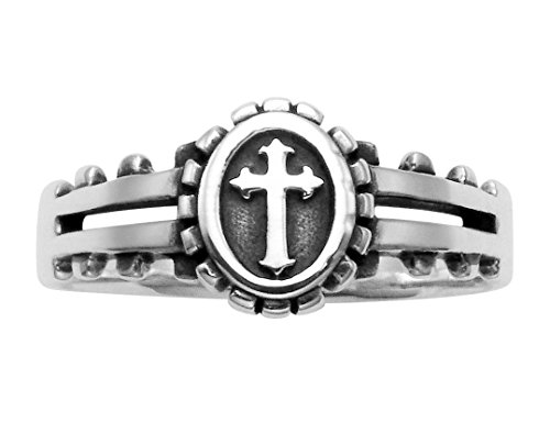 (Wild Things Sterling Silver Christian Florentine Cross Ring)