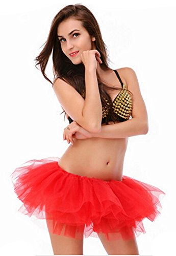 Women's, Teen, Adult Classic Elastic 3, 4, 5 Layered Tulle Tutu Skirt (One Size, Red 5Layer) by v28 (Image #2)