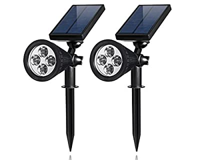 HapWay 2-in-1 Solar Powered Waterproof 4 LED SpotLight Landscape Bright-and-Dark Sensing Auto On/Off Security Lighting for Patio Deck Yard Garden (2 Pack)