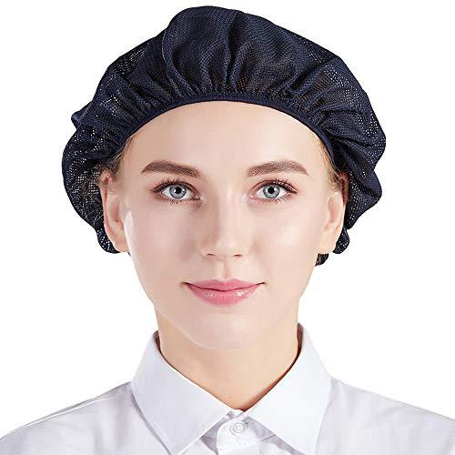 Nanxson 5pcs Unisex Mob Caps Elastic Chef Hat Kitchen Baking Cooking Hat Mesh Food Service Hair Net for Men Women CF9023 (Navy Blue) (Cooking Hair Net)