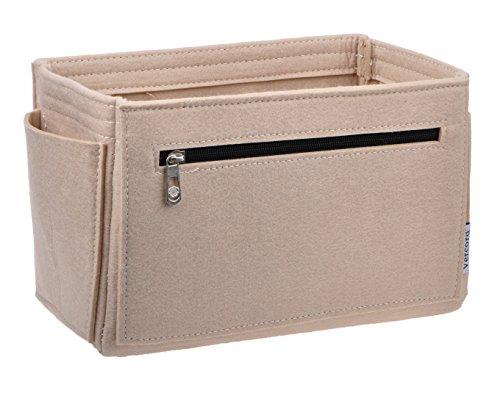 Vercord Felt Purse Organizer,4 Size Multicolor Durable Insert Shaper 12 Pockets Beige L Zipper by Vercord