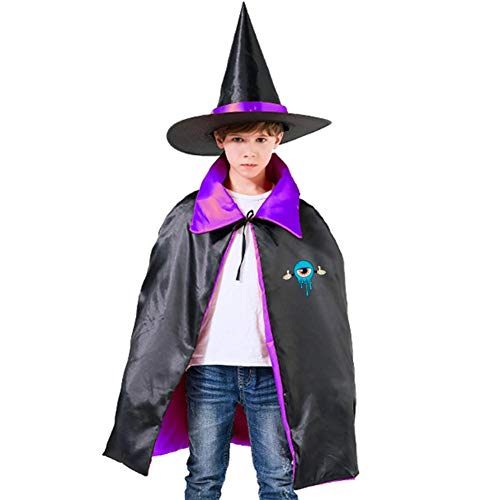 Blue Cartoon Children's Ghost Festival Costumes Satin Cloth Witch Cloak Robe Cape Hat Kids Purple,Red