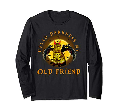 Bengal Cat hello Darkness my old friend Cute Cat halloween Long Sleeve T-Shirt