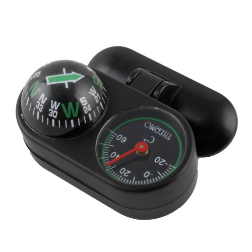 Primeshop-2-in-1 Black Auto Car Boat Auto Navigation Compass Ball with Thermometer