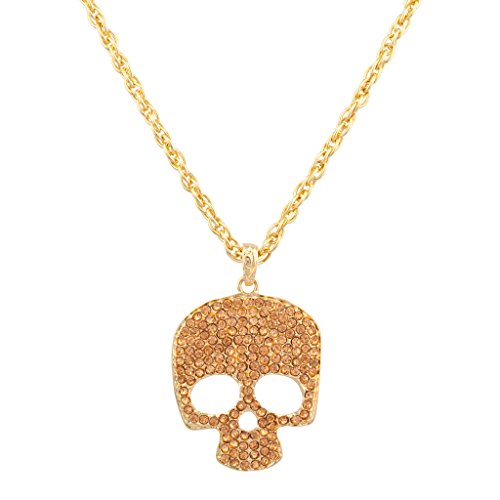 [Lux Accessories Pave Crystal Skull Eye Cutout Goth Pendant Bling Necklace] (New Harley Quinn Costumes)