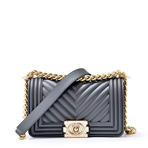 (Onzama Women Fashion Shoulder Bag Chain Purse Jelly Clutch Handbag Quilted Crossbody Bag)