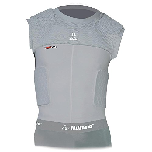 McDavid Classic Logo 7870Y CL Youth Hex Pad Mesh Sleeveless 5 Pad Body Shirt-Grey-Large