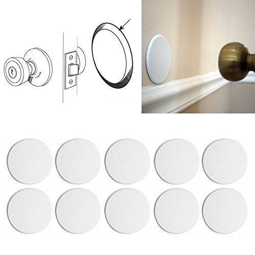 IIT 2 Round Self Adhesive Paintable Door Knob Wall Protector Shield White Stop New ()