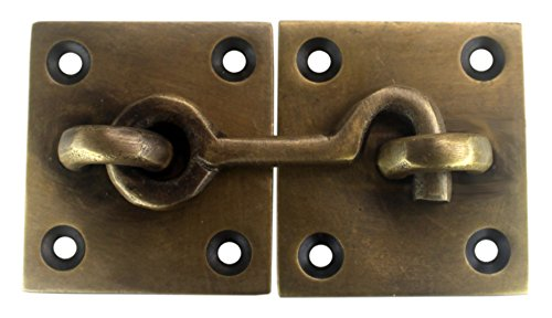 Antique Style Cabin Door Gate Hook with Back Plates by Nesha (Hook And Eye Latch Brass)