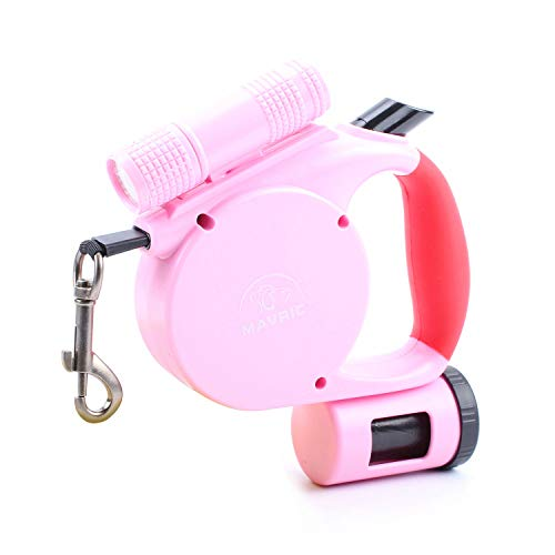 MAVRICFLEX Retractable Dog Leash, 13ft Dog Leash with Flashlight, Best Retractable Dog Leash for Dogs Up to 88lbs, Control with Bag Dispenser No Pull Dog Leash, 5 Colors, Dog Leash with Light (Pink) (Dog Leash Retractable Flashlight)