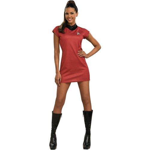 Deluxe Adult Klingon Star Trek Costumes (Star Trek Movie Deluxe Red Dress, Deluxe Small)