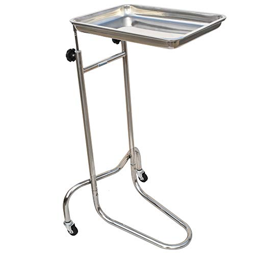 Konmee Mobile Instrument Stand Mayo Instrument Tray Stand Medical Doctor Tattoo Spa Salon Equipment Procedure Trays with Stainless Steel ()