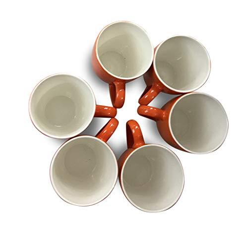 Best Porcelain 12 Oz Coffee Mug Set, Set of 6 Multi-Color Elegant Mugs, Perfect for Coffee, Tea, Cocoa and Hot Beverages (orange)