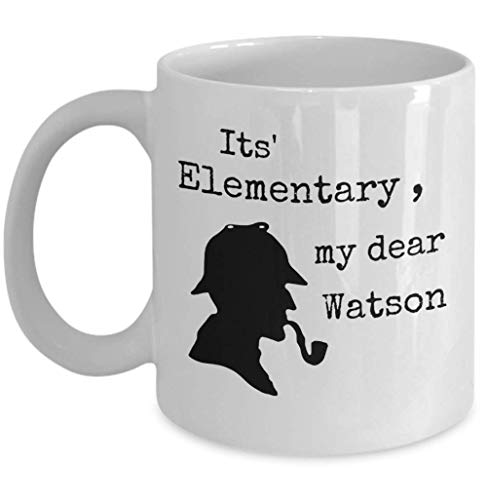 (Book lover coffee tea mug - It's elementary my dear Watson - Sherlock Holmes quote detective silhouette hat pipe - Sir Arthur Conan Doyle English literature author gift crime story)