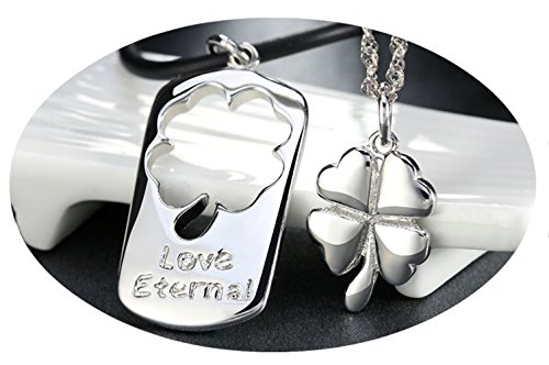 InspireMe Family Owned Clover Pendant Couples Necklaces