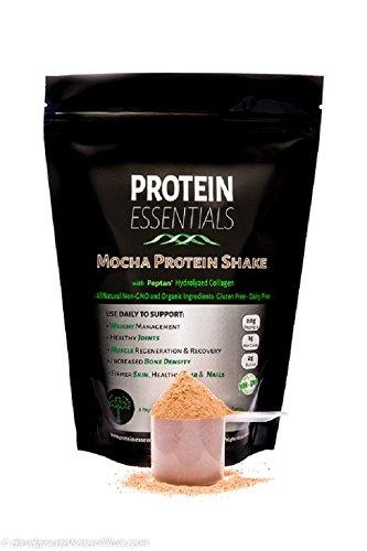 Mocha Collagen Peptides Protein Shake, Convenient Scoopable Collagen Powder, Pasture-Raised, Hydrolyzed, Non-GMO, Paleo, All Natural (21oz)