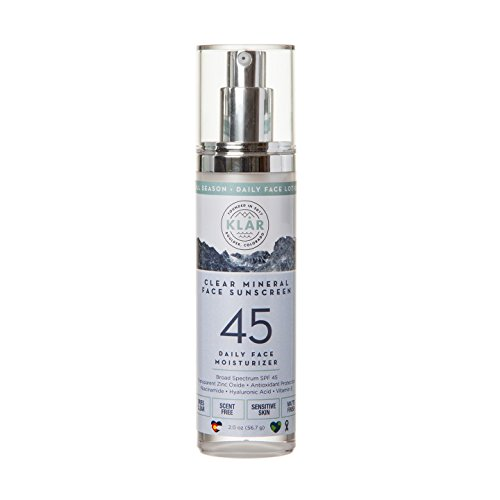 KLAR Clear Mineral Face SPF 45 Sunscreen - All Season Daily Face Lotion. Broad Spectrum UVA & UVB. Niacinamide, Hyaluronic Acid. Lightweight, Nontoxic, Tear Free. Dries Clear. For Very Sensitive (Skin Tear)